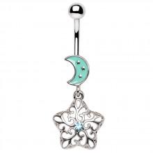 Piercing nombril à lune emaillée et pendentif étoile arabesque