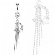 Piercing nombril lune et petite étoile avec chaines