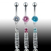 Piercing nombril Multi CZ & 2 Chaines