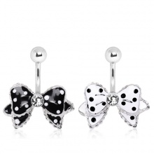 Piercing nombril noeud papillon à pois style Rockabilly