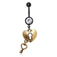 Piercing nombril noir à coeur cadenas et clé plaqué or 14 carats