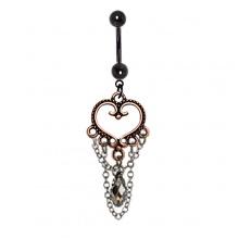 Piercing nombril noir à coeur vintage cuivré avec chaines et cristal