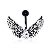 Piercing nombril noir à ailes d'ange et strass