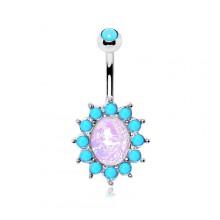 Piercing nombril à Opale ovale bordée de Turquoises