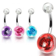 Piercing nombril orbe de rose