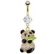 Piercing nombril panda noir et doré pavé de pierres