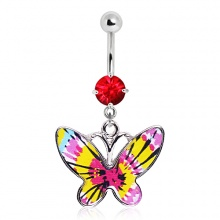 Piercing nombril papillon à ailes multicolores