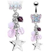 Piercing nombril papillon avec pendentif d'étoiles