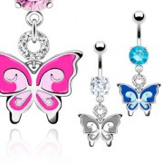 Piercing nombril papillon bicolore