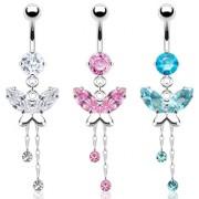 Piercing nombril papillon et zircons en pendentifs