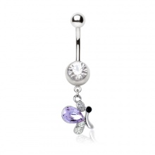 Piercing nombril papillon fantaisie à aile violette