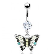 Piercing nombril papillon noir et gris perlé et serti