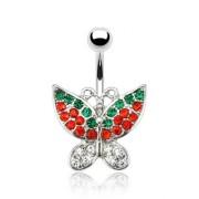 Piercing nombril papillon pavé de pierres claires, rouges et vertes