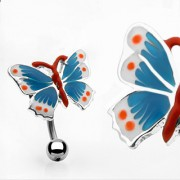 Piercing nombril papillon quadricolore