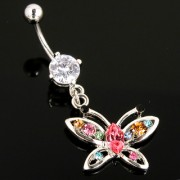 Piercing nombril papillon serti multicolore