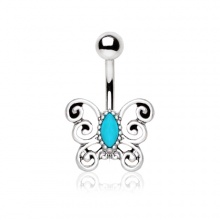 Piercing nombril papillon style antique avec turquoise