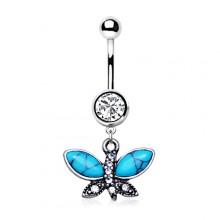 Piercing nombril papillon vintage à ailes de turquoise