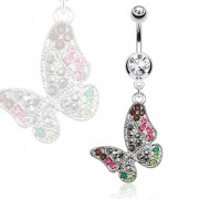 Piercing nombril papillon vintage multicolore