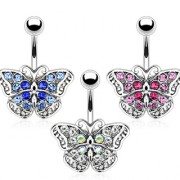 Piercing nombril papillon vintage pavé de pierres