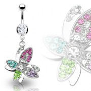 Piercing nombril papillons superposés multicolores