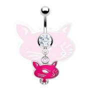 Piercing nombril pendentif chatte coquette