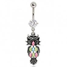 Piercing nombril pendentif chouette vintage à pierres tricolores