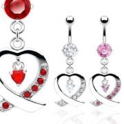 Piercing nombril pendentif coeur ruban croisé