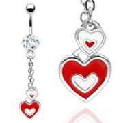 Piercing nombril pendentif coeurs rouges et blancs
