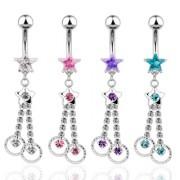 Piercing nombril pendentif étoile et anneaux
