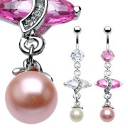Piercing nombril pendentif Marquise pearl