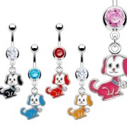 Piercing nombril pendentif petit chien à médaille