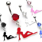 Piercing nombril silhouette femme allongée