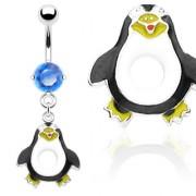 Piercing nombril pendentif pinguin