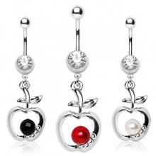 Piercing nombril pendentif pomme avec perle