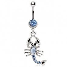 Piercing nombril pendentif scorpion argenté à pierres bleues