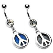 Piercing nombril pendentif signe de paix