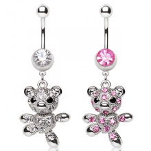 Piercing nombril pendentif teddy bear strass