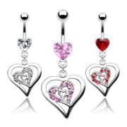 Piercing nombril pendentif triple coeur