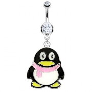 Piercing nombril pinguin à écharpe rose