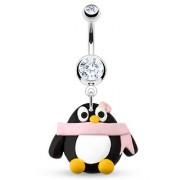Piercing nombril pinguin fantaisie en pate à fimo