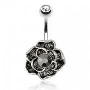 Piercing nombril plaqué hématite avec fleur à pierre noire