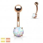 Piercing nombril plaqué IP avec opale synthétique
