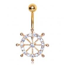 Piercing nombril plaqué or à barre (roue) de navire