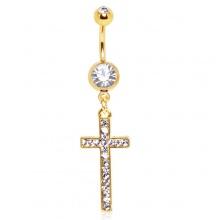 Piercing nombril plaqué or à croix pavée de pierres