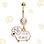 Piercing nombril plaqué or avec mouton blanc