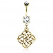 Piercing nombril plaqué or avec pendentif noeud celtique