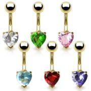 Piercing nombril doré avec pierre en coeur