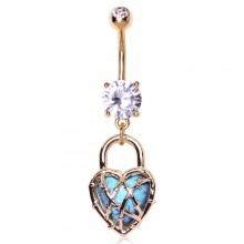 Piercing nombril plaqué or coeur cadenas avec turquoise