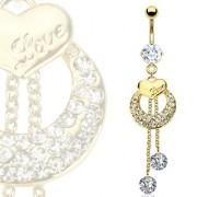 Piercing nombril plaqué or coeur, lune et chainettes