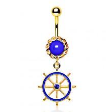 Piercing nombril plaqué or et bleu à barre (roue) de bateau